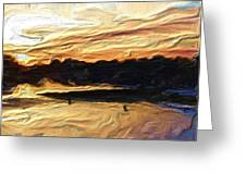 American River Sunset Greeting Card