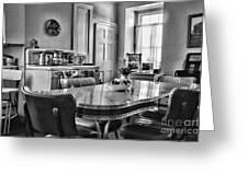 Americana - 1950 Kitchen - 1950s - Retro Kitchen Black And White Greeting Card