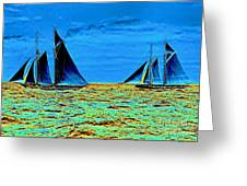 America's Cup Contenders Idler And Hildegarde 1901 Greeting Card by Padre Art