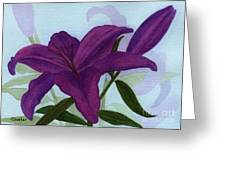 Amethyst Lily Greeting Card by Vikki Wicks
