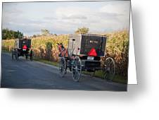Amish Buggies October Road Greeting Card