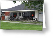 Amish Buggies Parked Greeting Card