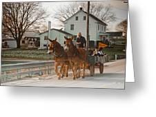Amish Wagon Greeting Card by Heidi Reyher