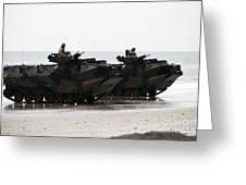 Amphibious Assault Vehicles Land Ashore Greeting Card
