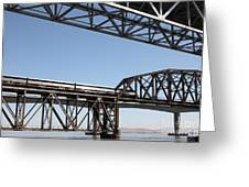 Amtrak Train Riding Atop The Benicia-martinez Train Bridge In California - 5d18835 Greeting Card