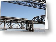 Amtrak Train Riding Atop The Benicia-martinez Train Bridge In California - 5d18837 Greeting Card