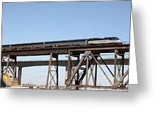 Amtrak Train Riding Atop The Benicia-martinez Train Bridge In California - 5d18839 Greeting Card