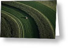 An Aerial View Of A Tractor On Curved Greeting Card