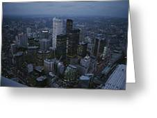 An Aerial View Of Toronto At Dusk Greeting Card