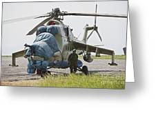 An Afghan Army Soldier Guards A Mi-35 Greeting Card