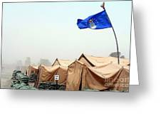 An Air Force Flag In Tent City Waves Greeting Card