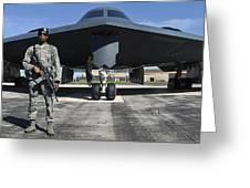 An Airman Guards A B-2 Spirit Greeting Card