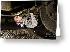 An Airman Inspects The Undercarriage Greeting Card by Stocktrek Images