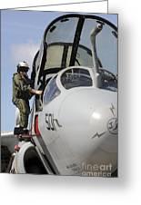 An Airman Makes A Final Look Over An Greeting Card