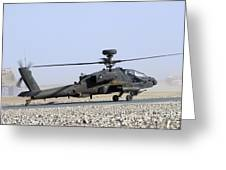 An Apache Helicopter Prepares Greeting Card