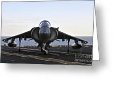 An Av-8b Harrier Maneuvers Greeting Card