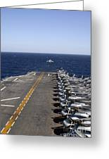 An Av-8b Takes Off From The Flight Deck Greeting Card