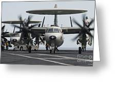 An E-2c Hawkeye Aircraft On The Flight Greeting Card