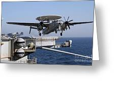 An E-2c Hawkeye Launches Off The Flight Greeting Card