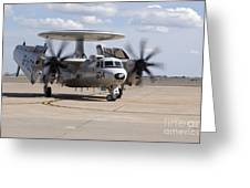 An E-2c Hawkeye On The Runway At Cannon Greeting Card