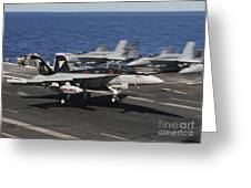 An Ea-18g Growler Lands Aboard Uss Greeting Card