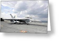 An Ea-18g Growler Takes Off From Uss Greeting Card
