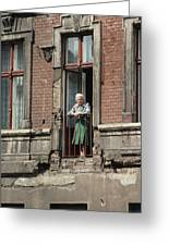 An Elderly Woman Stands At The Door Greeting Card by Cotton Coulson