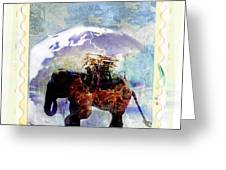 An Elephant Carrying Cargo Greeting Card