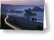 An Evening View Of Highway 101 South Greeting Card