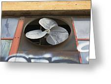 An Exhaust Fan At A Ventilation Outlet Greeting Card