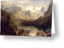 An Extensive Alpine Lake Landscape Greeting Card