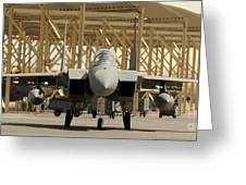 An F-15 Eagle Taxis Prior To A Training Greeting Card