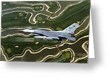 An F-16 Fighting Falcon Flies Near Base Greeting Card