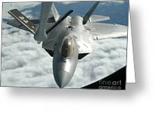 An F-22a Raptor Refuels With A Kc-135 Greeting Card