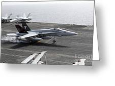 An Fa-18a+ Hornet Lands Aboard Greeting Card