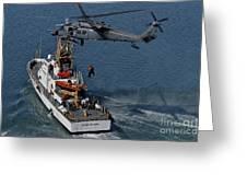 An Hh-60g Pave Hawk Performs A Hoist Greeting Card