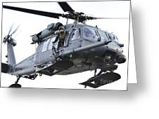 An Hh-60g Pavehawk Helicopter In Flight Greeting Card