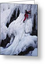 An Ice Climber On Habeggers Falls Greeting Card