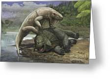 An Inostrancevia Attacks A Scutosaurus Greeting Card