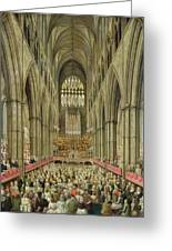 An Interior View Of Westminster Abbey On The Commemoration Of Handel's Centenary Greeting Card