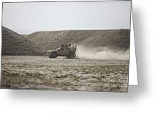 An M-atv Races Across The Wadi Greeting Card