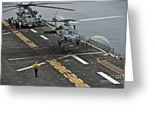 An Mh-60s Sea Hawk Lands Aboard Greeting Card