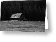 An Old Barn In Black And White Greeting Card