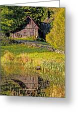An Old Barn Reflected In The Pond Water Greeting Card