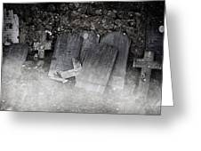 An Old Cemetery With Grave Stones And Fog Greeting Card