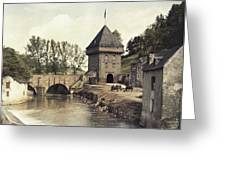 An Old Gate Stands At The Bridge Greeting Card
