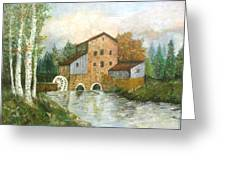 An Old House By The Forest-oil Painting Greeting Card by Rejeena Niaz