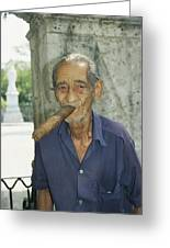 An Old Man Smokes An Over-sized Cigar Greeting Card
