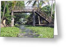 An Old Stone Bridge Over A Canal In Alleppey Greeting Card
