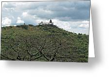 An Old Temple Building On Top Of A Hill With A Lot Of Clouds In The Sky Greeting Card